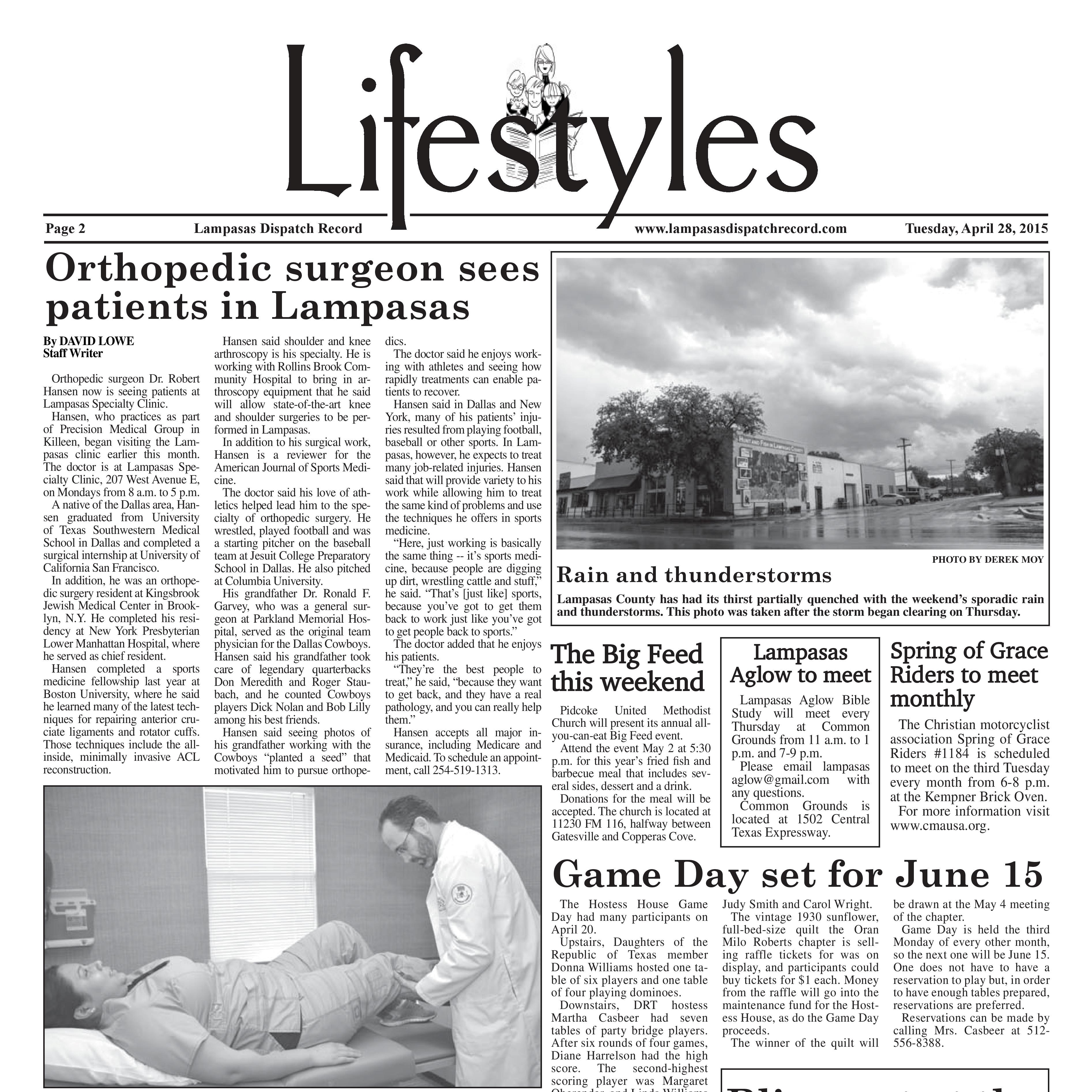 Orthopedic Surgeon Sees Patients in Lampasas